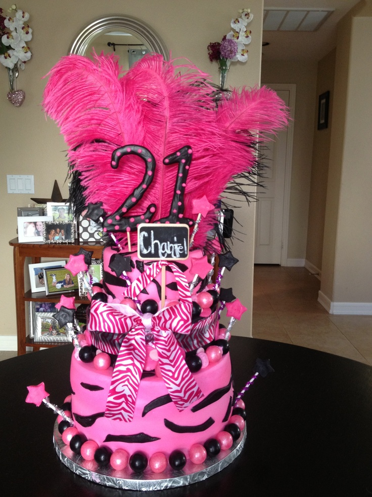 Zebra Themed Happy 21st Birthday Cake