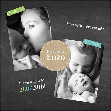 Faire-part de naissance mixte : Frère et soeur à personnaliser sur Popcarte.com