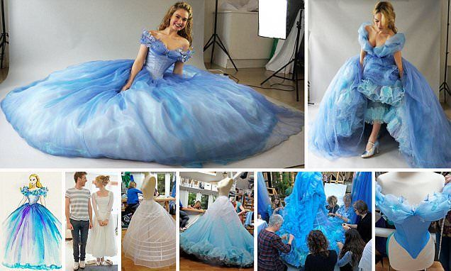 A look at the making of Cinderella's stunning ballgown on DailyMail. According to the article it took a team of 20 people 4,000 hours to create eight versions of her amazing gown for Cinderella Live. Not an easy DIY or Cosplay Costume.