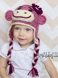 Crochet girl sock monkey hat. I dare you to try and find a prettier sock monkey hat! www.briabby.com