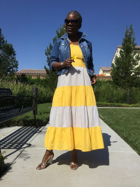 An Ann Taylor Loft denim jacket paired silver wedge sandals, and a color block summer dress in marigold and taupe. Perfect for summer. So What to Twenty!