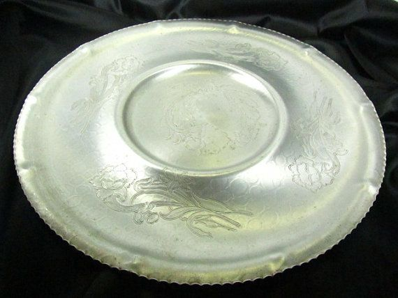 Vintage Aluminum Tray serving tray large tray by KarensChicNShabby, $48.00