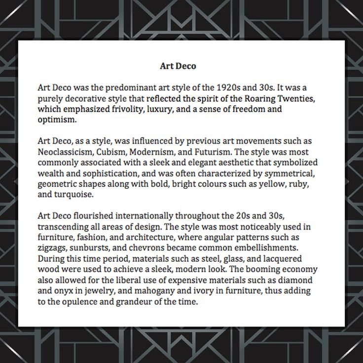 An overview of Art Deco. -RC