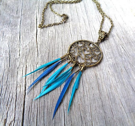 Bronze Heart Dreamcatcher Necklace, Blue Dreamcatcher, Boho Necklace, Hippie Necklace, Feather Tassels, Statement Necklace, Gift for Her