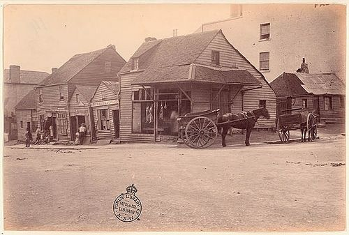 1875 - Market St, Sydney. There doesn't seem to be any straight or parrallel lines in the buildings
