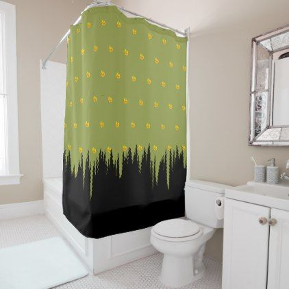 Morphed Yellow Florals Black Grass accent Green Shower Curtain - shower curtains home decor custom idea personalize bathroom