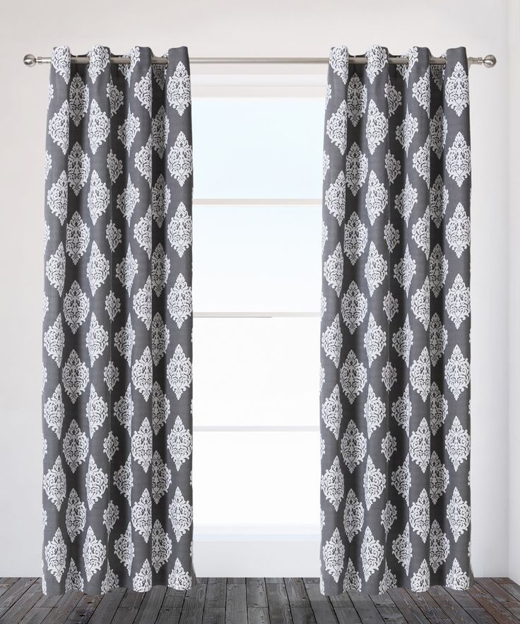Black Pearl Damask Curtain Panel - Set of Two