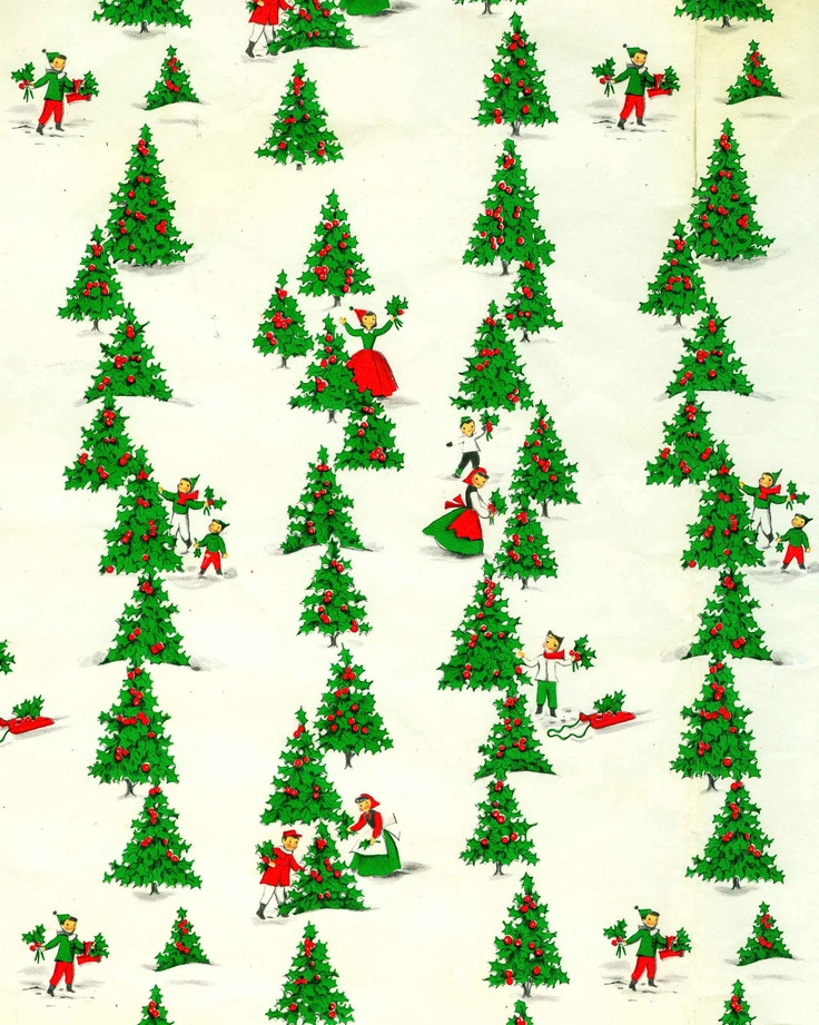 (Photo only.) Vintage Christmas wrapping paper to print as a full sheet or use has a gift tag. Or do both - it looks cool if the tag is printed in a smaller scale than the gift wrap. Villagers in a forest of trees.