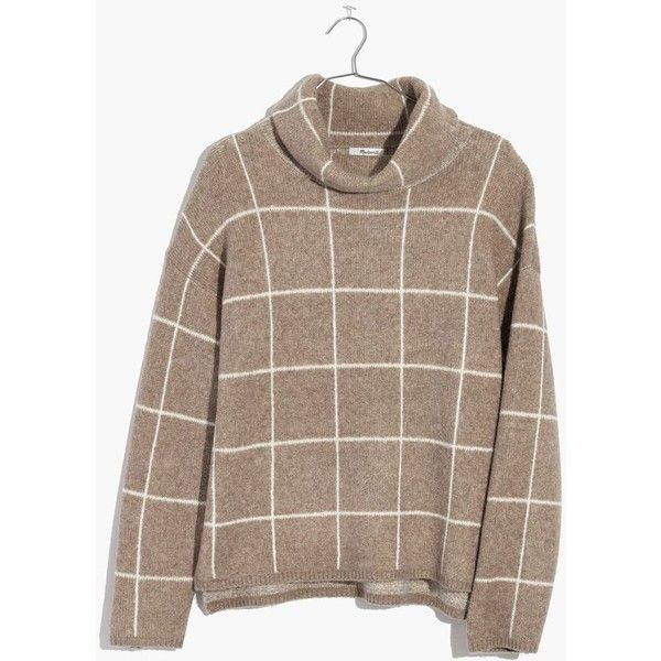 MADEWELL Windowpane Turtleneck Sweater ($98) ❤ liked on Polyvore featuring tops, sweaters, heather driftwood, turtle neck top, madewell tops, turtle neck sweater, brown top and madewell sweater