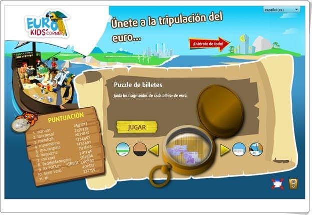 """""""Euro kids' corner""""  es un sitio web de la Unión Europea que contiene un conjunto de juegos con centro de interés en el euro. Buen medio para celebrar el Día de Europa, día 9 de mayo."""