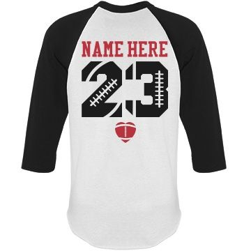 Trendy Football Girlfriend Shirts With Name Number | Make a football girlfriend raglan to show everyone in the football stands who your favorite football player is. Go football girlfriends! #footballgirlfriend
