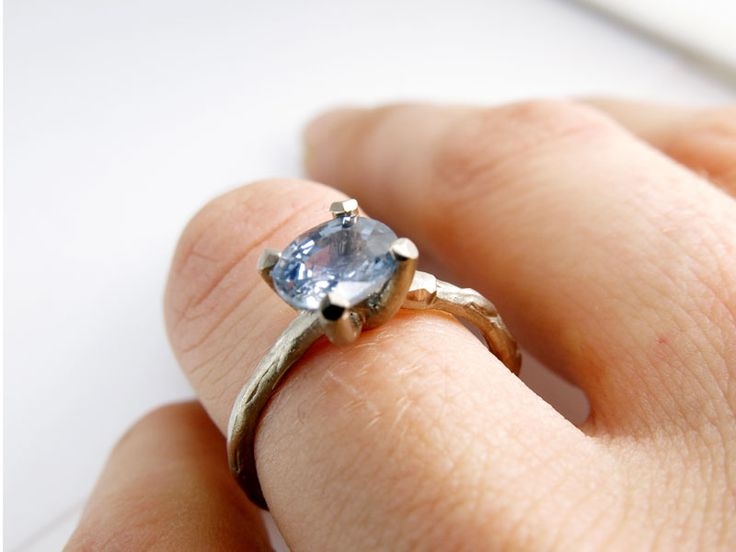 engagement ring white gold with lovely blue sapphire.