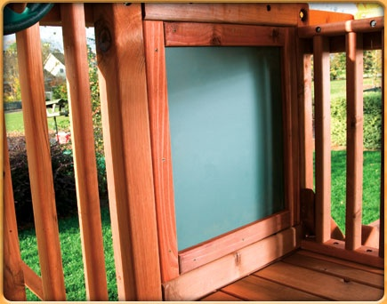 chalk board - add plywood painted w chalkboard paint and container for chalk