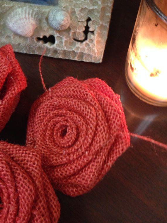 Burlap Roses-Set of 6-Coral