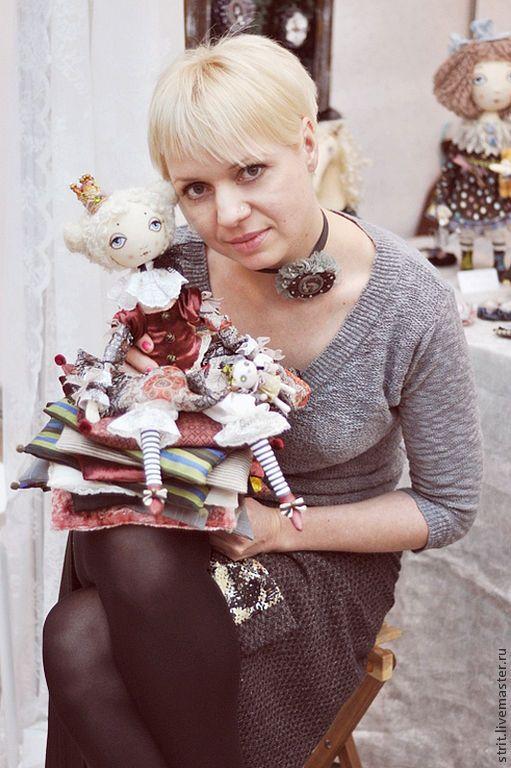 Купить Принцесса на горошине ( резерв для Лилии) - бордовый, тыквоголовка, грунтованный текстиль, текстильная кукла