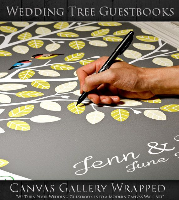 "Wedding Tree Guest Book - Alternative Wedding Guest Book - Modern Guest Book - 16""x20"" 100 Guest Sign In - Gallery Wrapped Canvas"