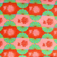 Coupon tissu coton rétro art déco 45.5x55.5cm - les roses rouges sur l´éventail