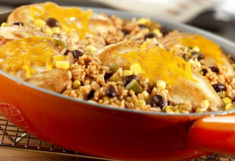 This one-skillet dish features cheese topped chicken, rice, black beans and corn, allsimmered in flavorful picante sauce. Your family will really enjoy this recipe!