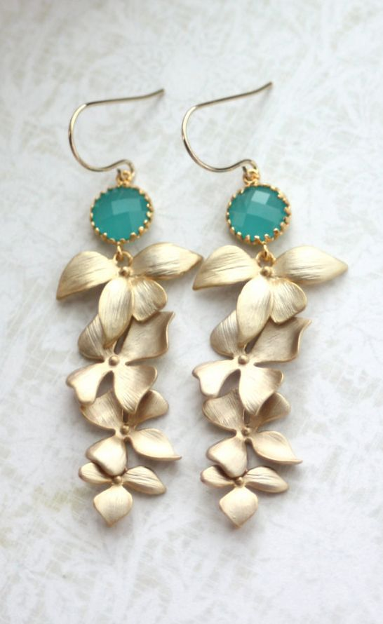 Wedding Earrings. Mint Opal Green Gold Orchid #opalsaustralia