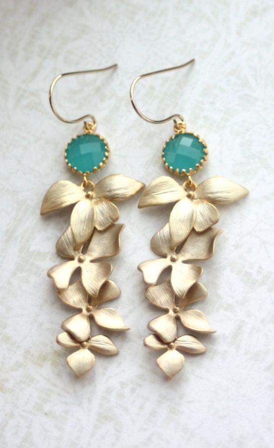 Wedding Earrings. Mint Opal Green Gold Orchid #opalsaustralia