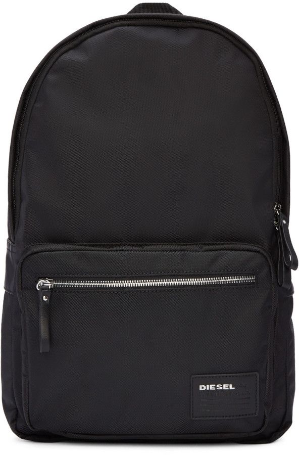 Diesel Black Nylon Drum Roll Backpack