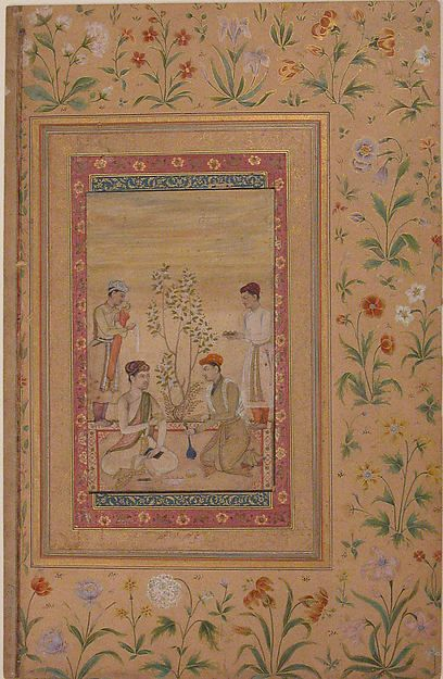 Prince Being Served Wine and Food in a Garden by Three Attendants, 19th century. Indian. The Metropolitan Museum of Art, New York. Gift of Edith and Herbert Lehman Foundation, 1969 (69.114.1)