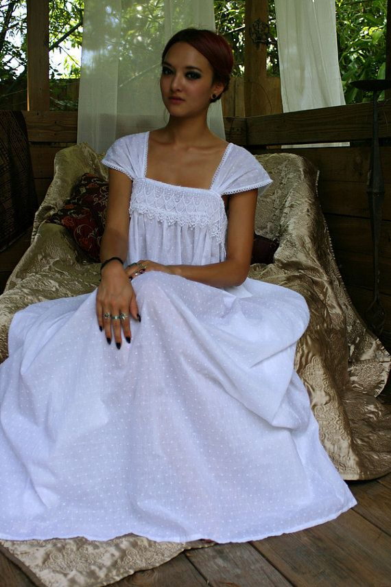 Limited Edition White Cotton Nightgown Dotted by SarafinaDreams, $125.00