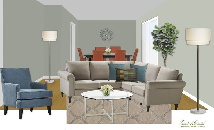 An open concept apartment for a virtual design client. Design and rendering by Linda Merrill. #virtual #design #edecor #edesign #open #concept #gray #teal #orange #dining #living #space #sectional