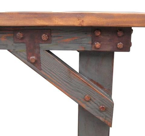 Industrial Work Bench Dining Table in Salvaged Wood Perfect for Urban Lofts and Modern Decor – Mortise & Tenon