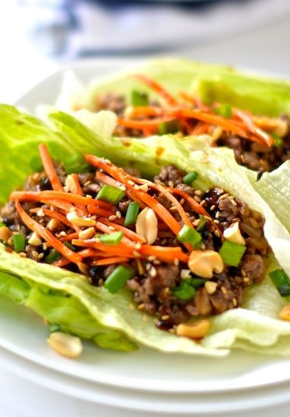 Healthy Asian Lettuce Wraps- One of my all-time favorite dinners! 120 calories each.