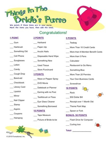 lots of bridal shower game ideas