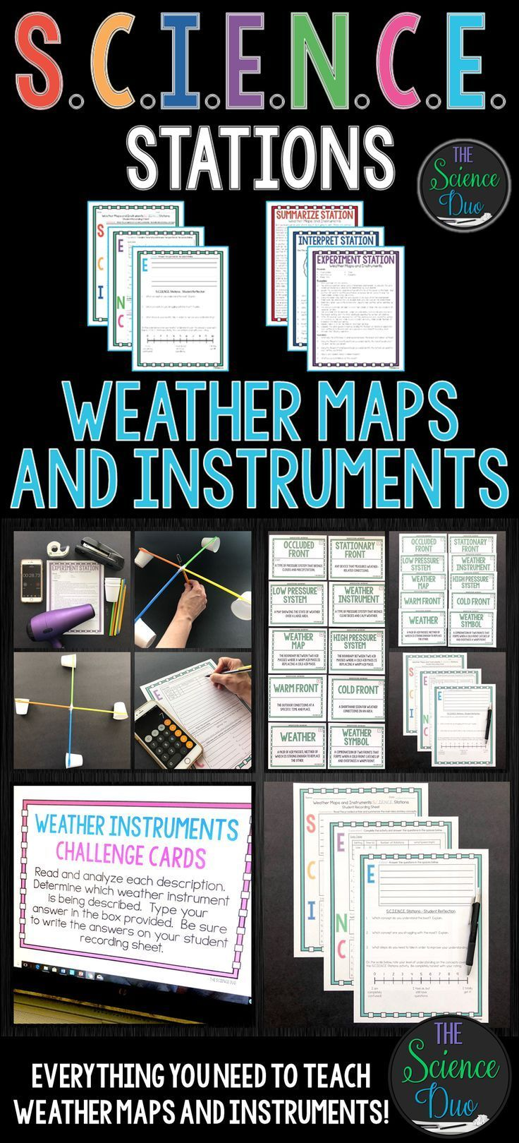 This Weather Maps And Instruments S C I E N C E Station Activity Includes Activitie Weather Map Teaching Middle School Science Middle School Science Resources [ 1619 x 736 Pixel ]