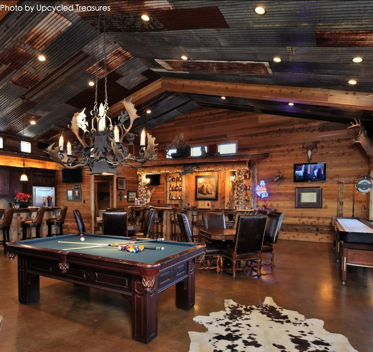 Very Large Garage Turned Into A Man Cave With A Pool Table
