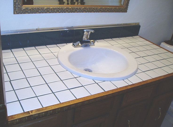 Turn Tile Counter Top Into Faux Sandstone Laundry Room