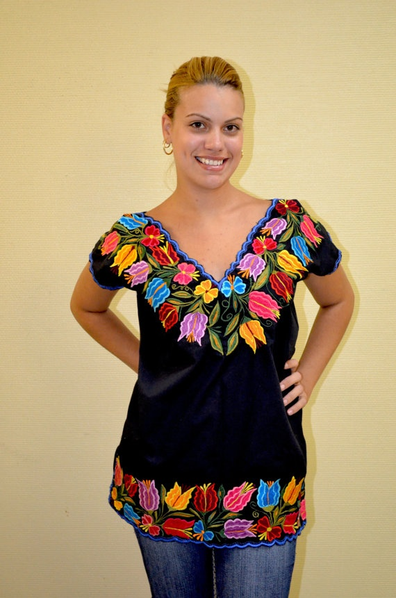 Unique Mexican Embroidered Top Blouse /Tunic by Vtgantiques, $54.99