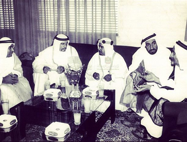 Sheikh Zayed and Sheikh Rashid in a meeting with the emirates rulers in the 1960s
