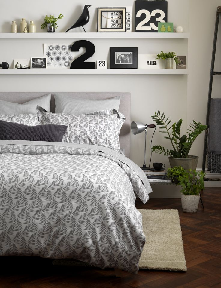 Ferns graphite bed linen