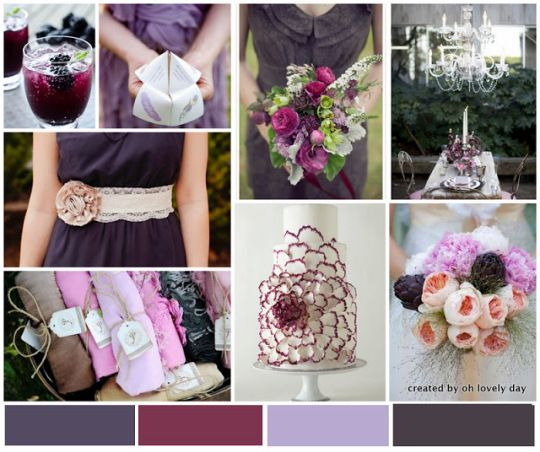 champagne and eggplant wedding | palette} eggplant, plum, wine, lavender, accented with grey and blush