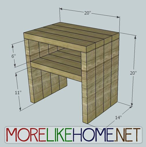 More Like Home: Day 25 - Build a Simple Modern Nightstand out of 2x4's for $8