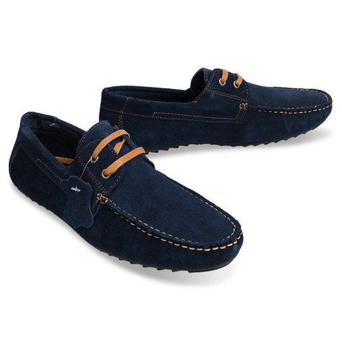 Mokasyny Meskie Butymodne Sznurowane Mokasyny Skorzane Sh57 Granatowy Granatowe Dress Shoes Men Loafers Men Oxford Shoes