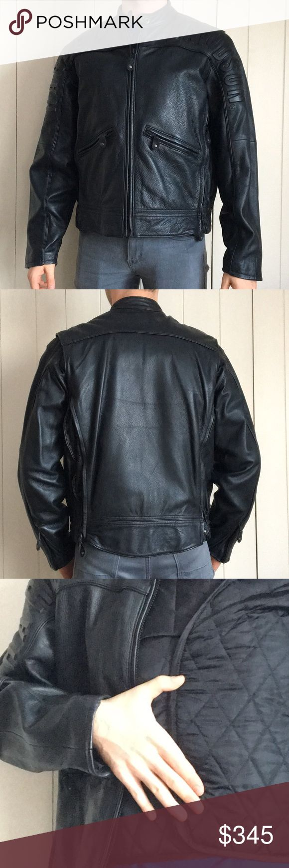 Harley Davidson leather jacket Authentic Harley leather jacket. Interior vest liner for warmth. 4 zippered extension panels (2 under each arm). Plenty of interior and exterior pockets. Perfect condition, never worn. Smoke free/pet free environment. Purchased directly from Harley. Harley-Davidson Jackets & Coats
