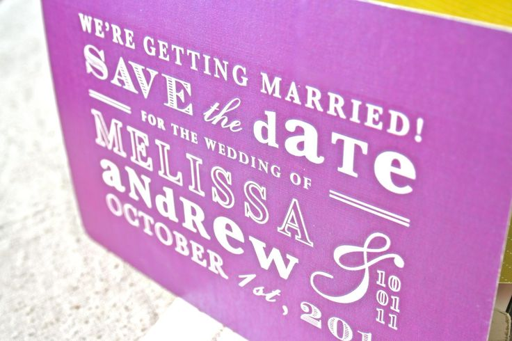 bold wedding ideas electric colors purple save the date