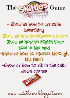 Skittles game to teach relaxation exercises, free printables