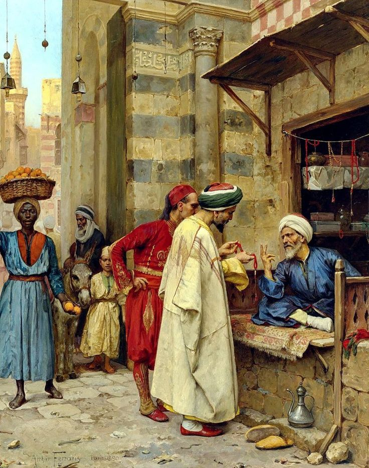 Driving A Bargain , Cairo 1890  By Arthur von Ferraris - Hungarian, 1856 - 1936  Oil on panel , 64.1 by 50 cm