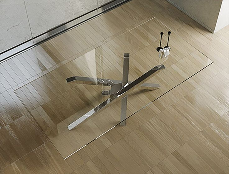 Rectangular crystal and stainless steel dining table SHANGAI Collection by RIFLESSI