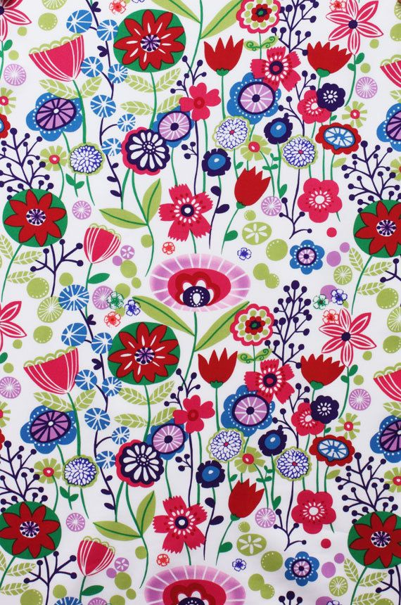 Kaori Floral Indochine Fabric  Bright Floral by spiceberrycottage, $8.50