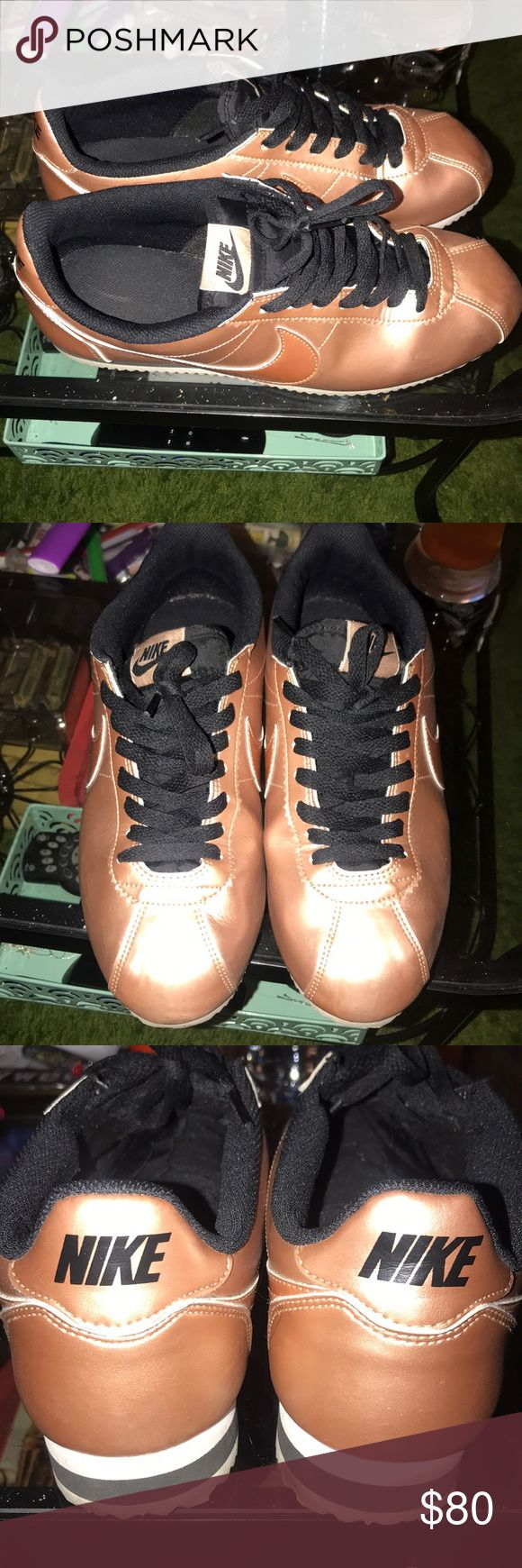 Rose gold Nike Cortez Lightly worn. Super cute Nike Shoes Sneakers