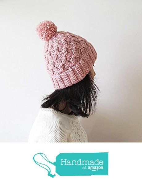 Hand Knitted Hat in Powder Pink - Beanie with Pom Pom - Seamless - Wool Blend…