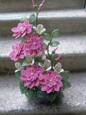 Pink beading flowers