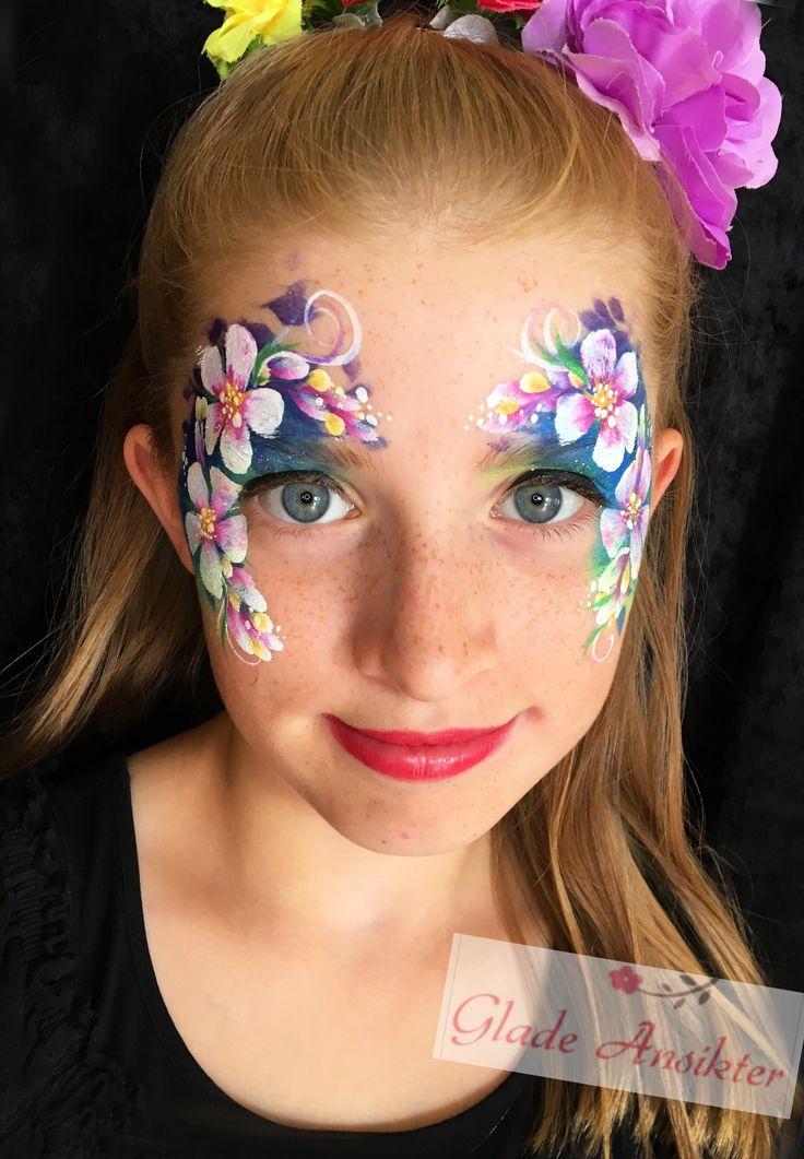 Flower facepaint blomster ansiktsmaling Monica Braathu Norway